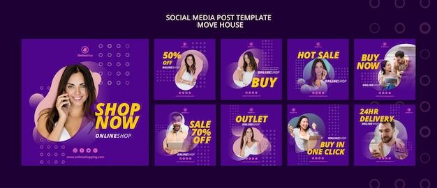 Online shopping social media posts