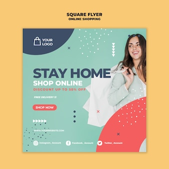 Online shopping square flyer design