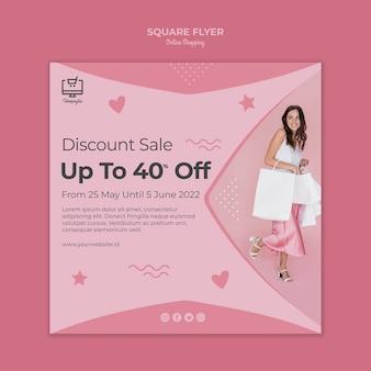 Progettazione di volantini quadrati per lo shopping online