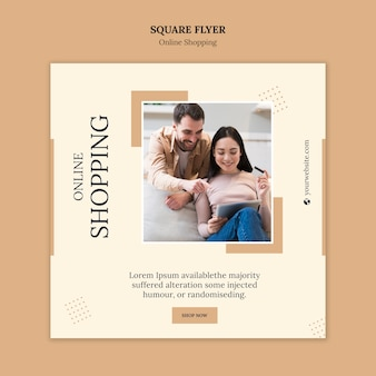 Online shopping square flyer template