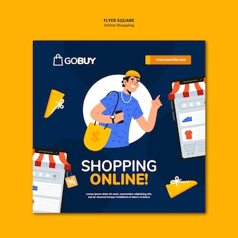Online shopping squared flyer