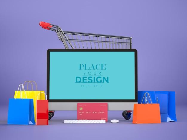 컴퓨터 모형 템플릿 및 쇼핑 요소로 온라인 쇼핑