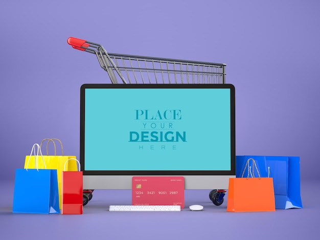 Online shopping with computer mockup template and shopping elements