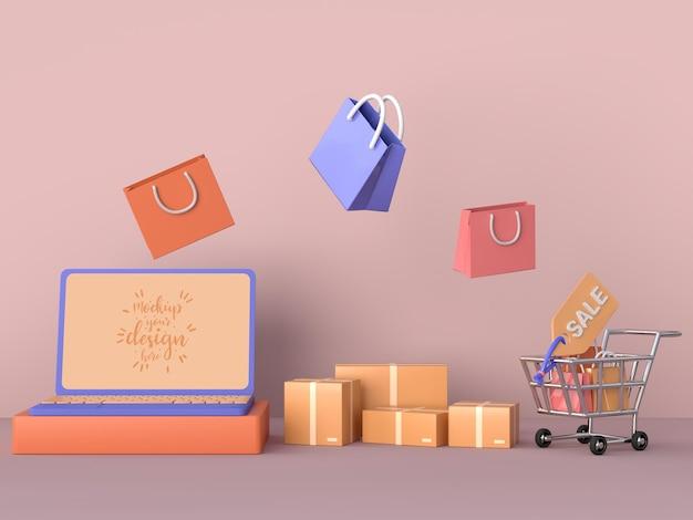 노트북 모형 템플릿 및 쇼핑 요소로 온라인 쇼핑