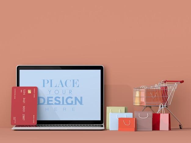 Интернет-магазины с шаблоном макета ноутбука и элементами покупок