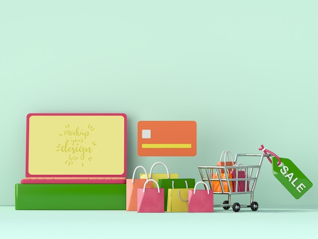Online shopping with laptop mockup template and shopping elements
