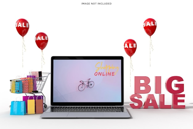 Online shopping with laptop mockups