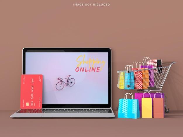 노트북 모형으로 온라인 쇼핑