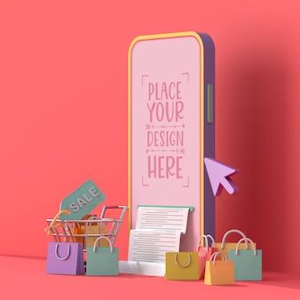 Интернет-магазины с шаблоном макета мобильных и торговых элементов