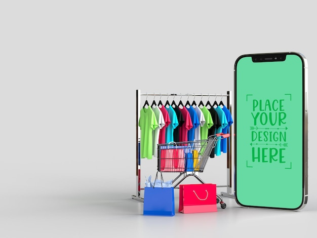Online shopping with mobile and shopping elements mockup template