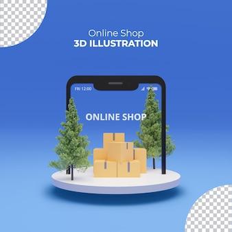 Интернет-магазины с 3d-рендерингом смартфона в торговом центре на подиуме