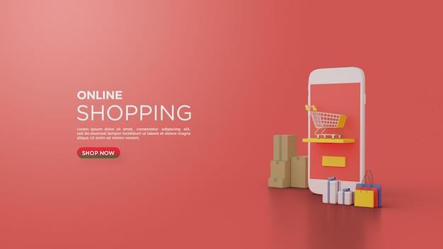 スマートフォンとショッピングカートの3dレンダリングによるオンラインショッピング