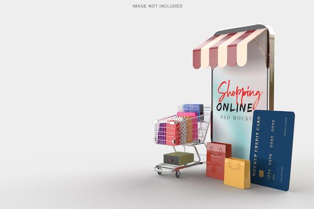 스마트 폰 모형 템플릿으로 온라인 쇼핑 프리미엄 PSD 파일