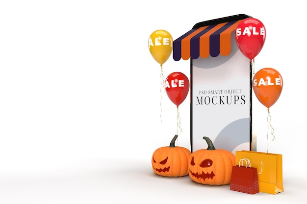 Интернет-магазины с макетами смартфонов и элементами концепции хэллоуина. дизайн концепции маркетинга в интернете
