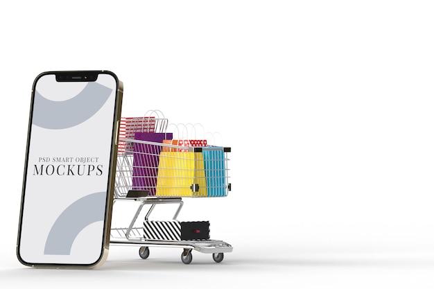 Интернет-магазины с шаблоном макетов смартфонов и элементами покупок. разрабатывает концепцию маркетинга в интернете. 3d рендеринг