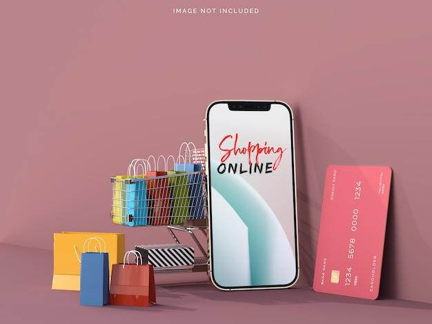 스마트 폰 모형으로 온라인 쇼핑