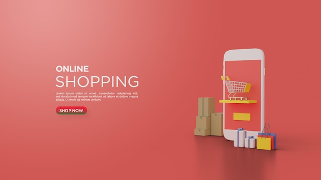 Online shopping with smartphone and shopping cart 3d render