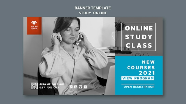 Online study banner template
