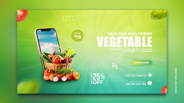 Online vegetable and grocery delivery promotion banner instagram social media post template