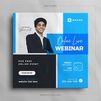 Интернет веб-семинар плакат социальные сети instagram шаблон веб-баннера