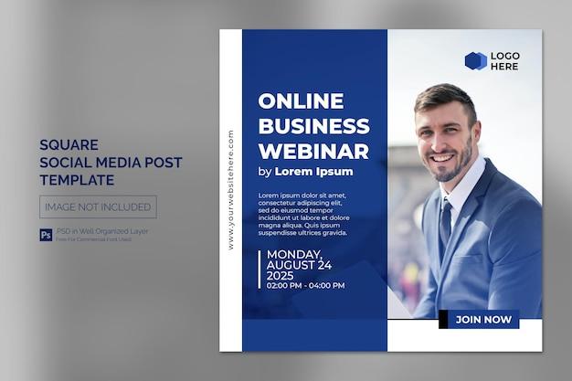 Online webinar social media post or square banner template
