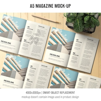 Open a5 magazine mockup of four