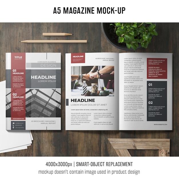 Genial Open A5 Magazine Mockup