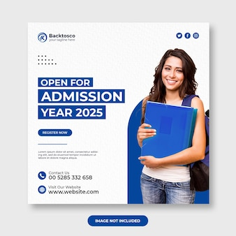 Open for admission social media post template premium psd
