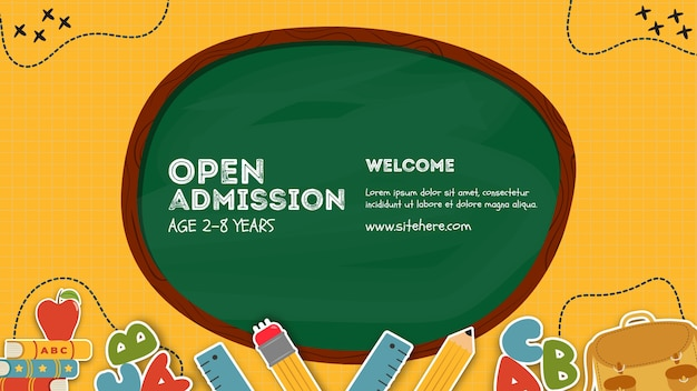 Open admission written on blackboard poster template