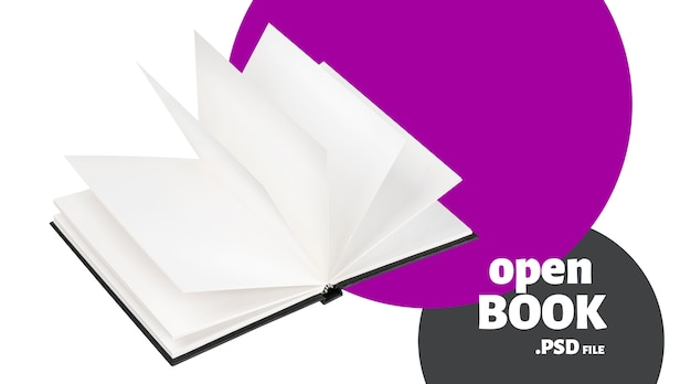 Open black book mock up banner