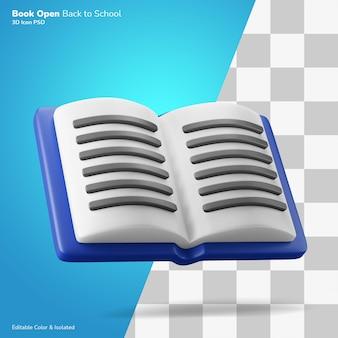 Открытая книга плавающая 3d иллюстрация рендеринг значок редактируемый изолированный