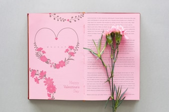 Open book mockup with flower for valentine