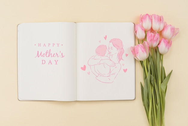 Open book mockup with mothers day concept