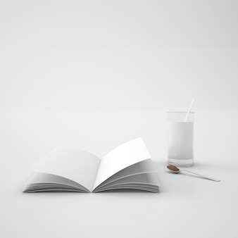 Open book and spoon with coffee