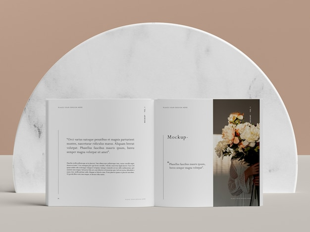 Open book with flowers editorial magazine mock-up