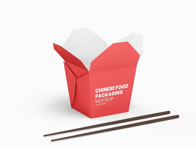 Open chinese food packaging box