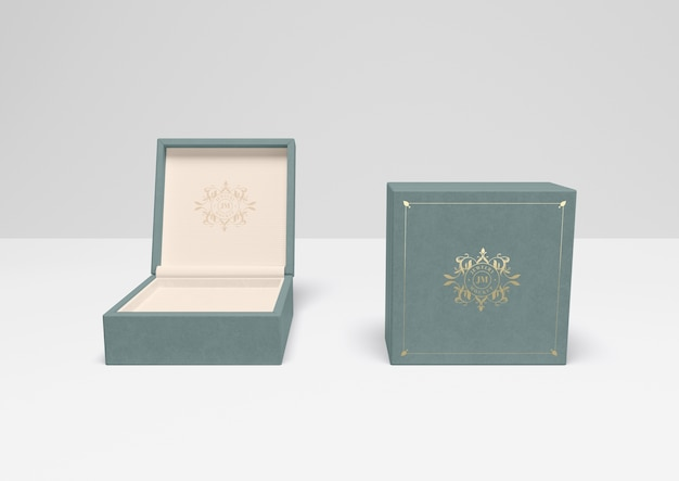 Open and closed blue gift box with cover