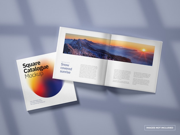 Open and closed square catalogue mockup
