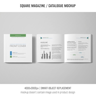 Open and closed square magazine or catalogue mockup