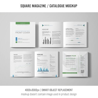 Open and closed square magazine or catalogue mockups