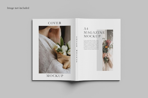 Open cover magazine mockup design isolated top view