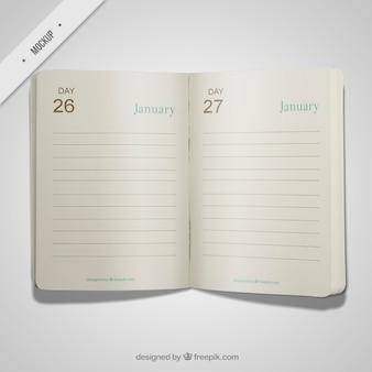 Open diary mockup