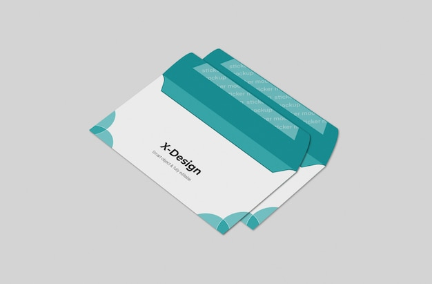 Шаблон макета открытого конверта Premium Psd