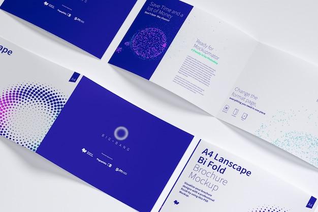 Open landscape bi fold brochure mockup