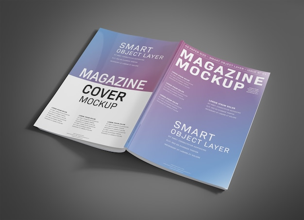 Open magazine cover on grey mockup