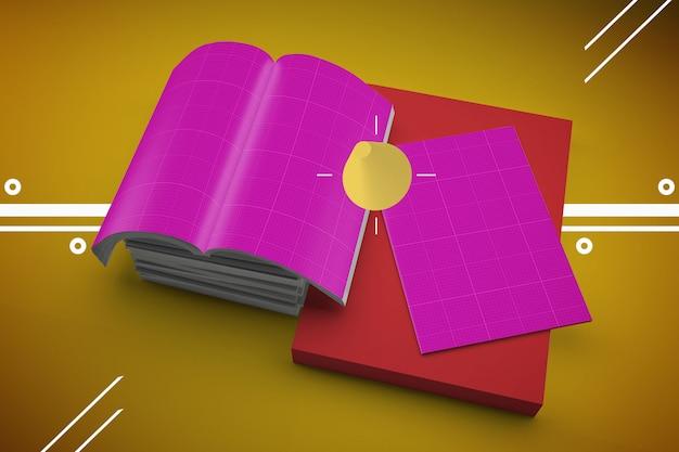 Открытый журнал макет и обложка на дизайн мемфис