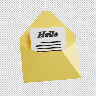 Open mail 3d illustration