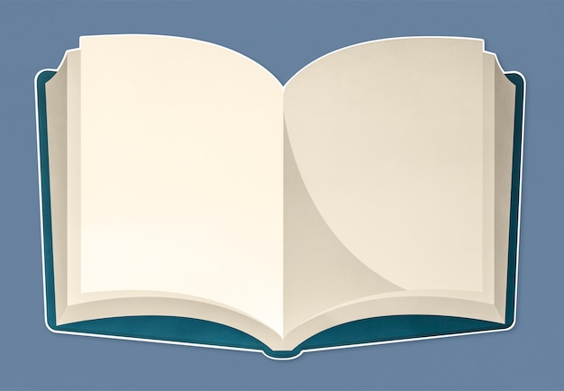 An open notebook with blank pages