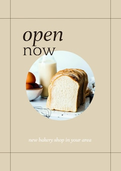 Open now psd poster template for bakery and cafe marketing