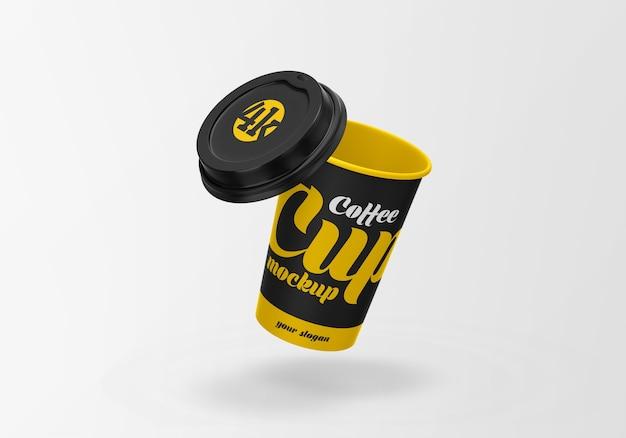 Открытый бумажный макет кофейной чашки